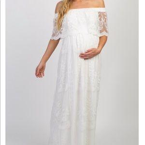 Pink Blush White Lace Maternity Maxi Dress